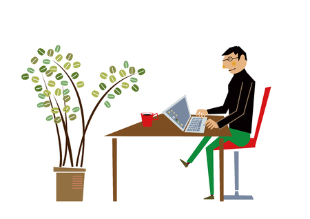 Nomad worker at work and Waitress.clip art.