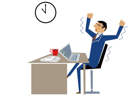 A man working overtime at the office. Business scene. Illustration