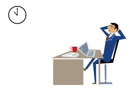 A man working overtime at the office. Business scene. Ilustração