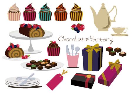 Ensemble de gâteaux au chocolat icône . Banque d'images - 91826707