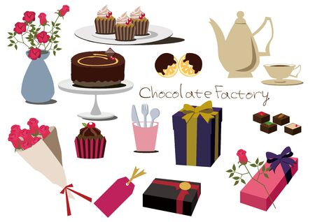 Set of chocolate cakes icon.