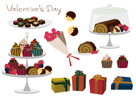 チョコレートギフトの材料コレクション。ケーキ素材のコレクション。バレンタインの資料集。バレンタインのクリップアート  イラスト・ベクター素材
