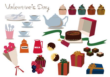 チョコレート ギフトの資料集。ケーキ材料のコレクション。バレンタインの資料集。バレンタインのクリップアート。