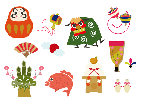 Material collection of Japanese good luck charms. Japanese pattern and style. Traditional goods, For decoration.