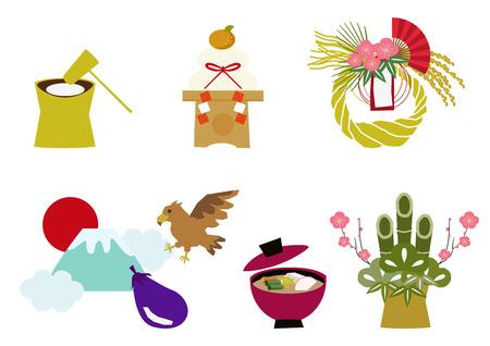 日本の幸運のお守りの資料集。日本のパターンとスタイル。伝統的な商品、装飾用。