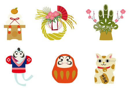 Material collection of luck of Japan. Japanese pattern. Japanese style. Traditional goods. For decoration.