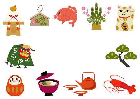 和風ラッキーグッズのアイコンコレクション。アイコンコレクション。和風。日本語パターンアイコンコレクション。ラッキーグッズのシンボル。  イラスト・ベクター素材