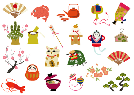 Icon collection of Japanese style lucky goods. Icon collection. Japanese style. Japanese pattern icon collection. A symbol of lucky goods. A collection of symbols. Japanese style. Lucky goods.