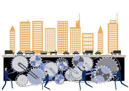 Urban structure and gear clip art. Gear and businessman clip art. Image of business. Business clip art. Illusztráció