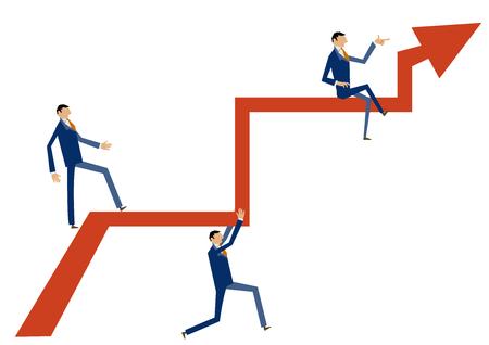 화살표와 기업인의 이미지입니다. 비즈니스 이미지입니다. 금융 이미지.
