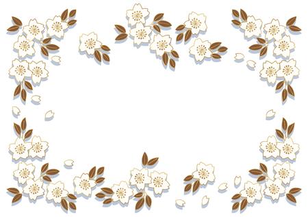 桜フレーム壁紙素材  イラスト・ベクター素材