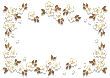 Cherry blossoms frame wallpaper material Illustration