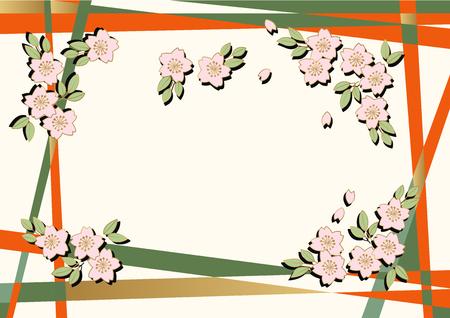 桜の背景資料。日本画の背景資料。桜の現代美術。桜の壁紙素材。日本語の背景資料。和風の背景資料。装飾のための背景デザイン。春のイメージ  イラスト・ベクター素材