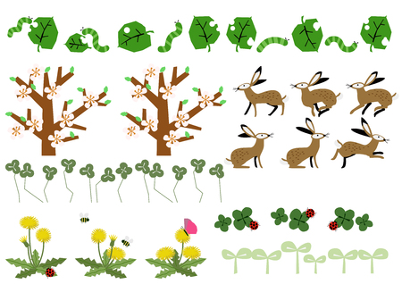 Material of rabbit and spring landscape. season clip art. Landscape materials collection. Ilustracja