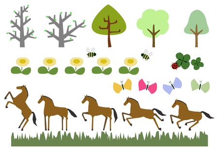 Horse herd and spring plant landscape Illustration