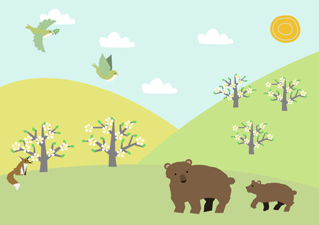 Material of bear and spring landscape. Spring material collection. Spring animals.
