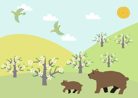 Bear and Haruyama landscape. Spring landscape. Illustration