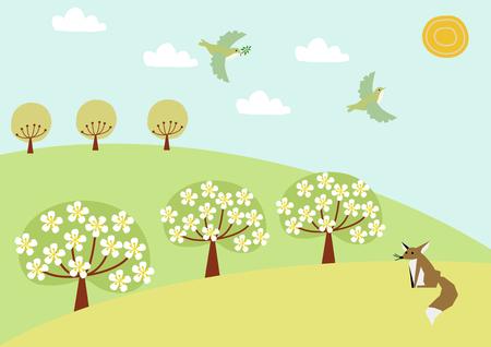 Image of deer and spring grassland.