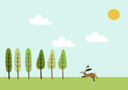 Illustration of spring landscape. An image of the season. Illustration for the calendar. Image illustration of the four seasons.
