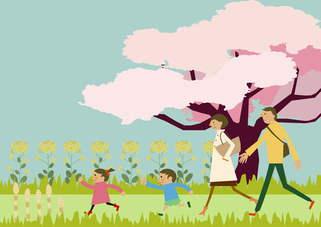A family trekking. Spring landscape. Image of spring. Cherry blossoms and family. Image of hiking. a short trip. Spring landscape. Spring clip art. Çizim