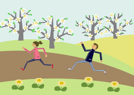 Couple to walk. Image of sports. Spring illustration. Cherry Blossom.  Spring landscape. A couple marathoning. Cherry Blossom. Image of sports. People who run... Image of spring. Illustration