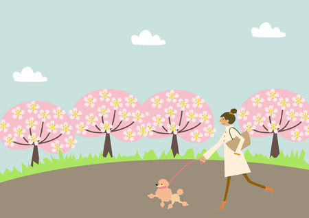 Dog walking. A woman and a dog. Image of spring. Illustration of the season.  イラスト・ベクター素材