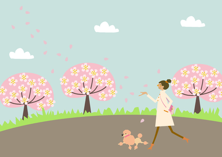 Dog walking. A woman and a dog. Image of spring. Illustration of the season. Vettoriali
