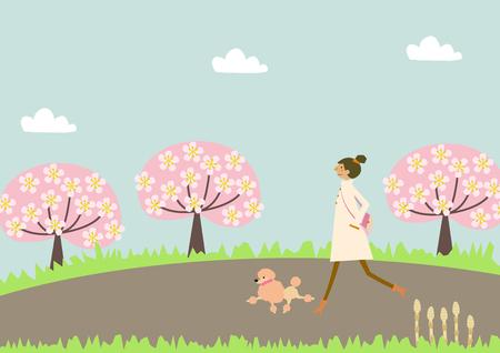 Perro caminando. Una mujer y un perro Imagen de la primavera. Ilustración de la temporada. Foto de archivo - 92914234