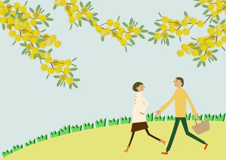 ミモザの花を持って歩くカップル。季節のイラスト。春のイメージ。