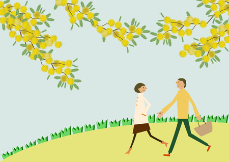 A couple walking with the flowers of Mimosa. Illustration of the season. Image of spring. Illustration