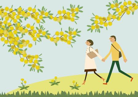 미모사의 꽃들과 산책하는 부부. 시즌의 그림입니다. 봄의 이미지입니다. 일러스트