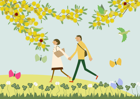 A couple walking with the flowers of Mimosa. Illustration of the season. Image of spring. Ilustracja