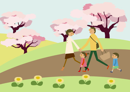 A family trekking. Spring landscape. Image of spring. Cherry blossoms and family. Image of hiking. a short trip. Spring landscape. Spring clip art. Illustration