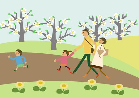 家族のトレッキング春の風景。春のイメージ。桜と家族。ハイキングのイメージ。短い旅行。春の風景。スプリングクリップアート。