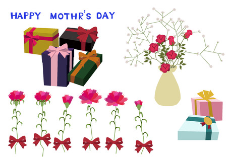 Mothers day card. Vector illustration material collection. Happy Mothers Day. message card. Message card on Mothers Day. Material collection. Vector art material collection. Clip art of Mothers Day. Illustration