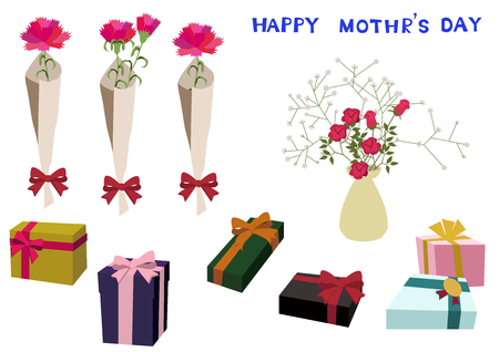 Mother's day card. Vector illustration material collection. Happy Mothers Day. message card. Message card on Mother's Day. Material collection. Vector art material collection. Clip art of Mother's Day. Vettoriali