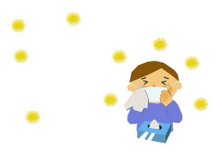 Afbeelding van hooikoorts. Afbeelding van allergie. Mensen van cederpollen en allergie. Afbeelding van verstopte neus en hooikoorts. Stock Illustratie