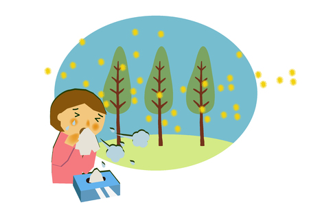 Image of hay fever. People who sneeze. Cryptomeria pollen allergy clip art. Clip art of hay fever.