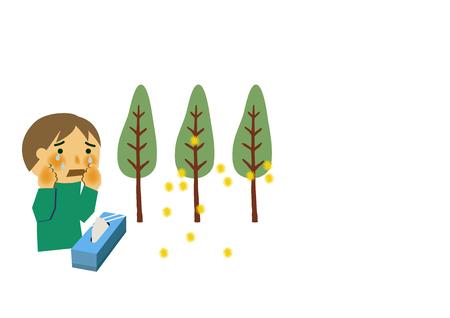 Afbeelding van hooikoorts. Mensen die niezen. Cryptomeria pollen allergie glinsterende clip art. Illustraties van hooikoorts.