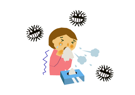 Image of viral disease. Image of influenza or cold. Illustration of a person coughing. A person suffering from runny nose and sneezing. 일러스트