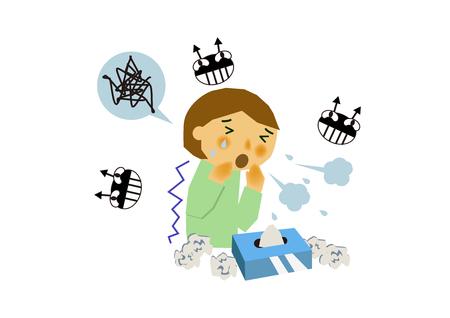 바이러스 성 질병의 이미지. 인플루엔자 또는 감기의 이미지. 기침하는 사람의 그림입니다. 콧물과 재채기를하는 사람. 스톡 콘텐츠 - 94382386