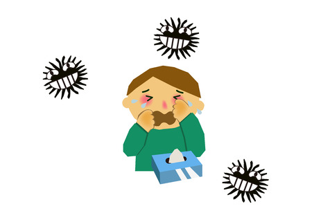 Image of viral disease. Image of influenza or cold. Illustration of a person coughing. A person suffering from runny nose and sneezing. Иллюстрация