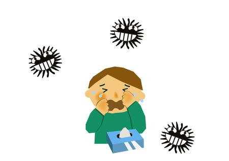 바이러스 성 질병의 이미지. 인플루엔자 또는 감기의 이미지. 기침하는 사람의 그림입니다. 콧물과 재채기를하는 사람. 스톡 콘텐츠 - 94382395