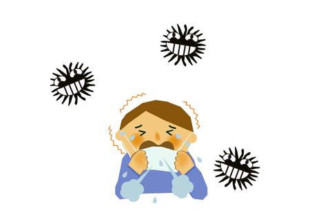 바이러스 성 질병의 이미지. 인플루엔자 또는 감기의 이미지. 기침하는 사람의 그림입니다. 콧물과 재채기를하는 사람. 스톡 콘텐츠 - 94382391