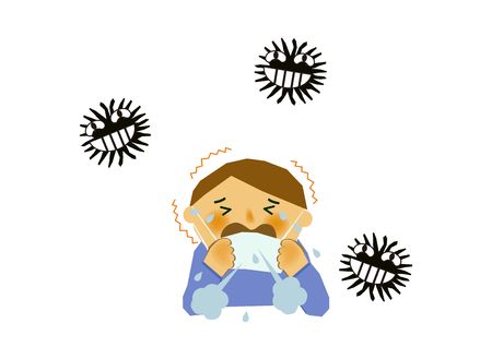 Image of viral disease. Image of influenza or cold. Illustration of a person coughing. A person suffering from runny nose and sneezing. Illustration