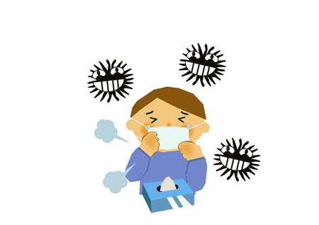 Image of viral disease. Image of influenza or cold. Illustration of a person coughing. A person suffering from runny nose and sneezing. Stock Illustratie