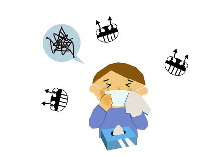 바이러스 성 질병의 이미지. 인플루엔자 또는 감기의 이미지. 기침하는 사람의 그림입니다. 콧물과 재채기를하는 사람. 스톡 콘텐츠 - 94382399