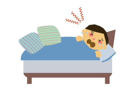 A cold male clip art. Rhinitis male clip art. Clip art of a person with poor physical condition. An image of a person sneezing.  イラスト・ベクター素材