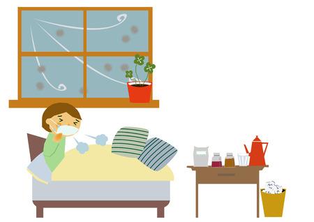 바이러스 성 질병의 이미지. 인플루엔자 또는 감기의 이미지. 기침하는 사람의 그림입니다. 콧물과 재채기를하는 사람.
