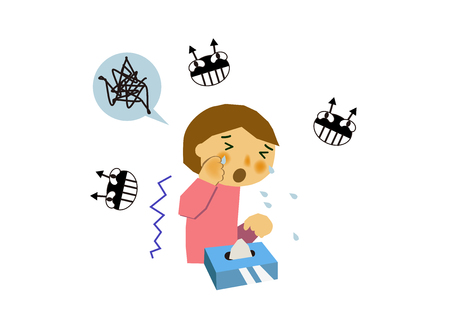 Image of viral disease. Image of influenza or cold. Illustration of a person coughing. A person suffering from runny nose and sneezing. 向量圖像